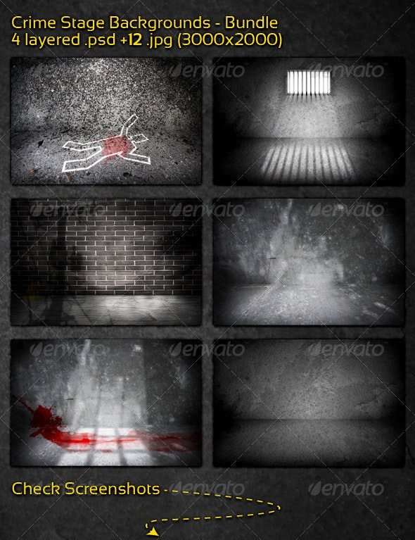 Crime Stage Backgrounds - Bundle - 3D Backgrounds