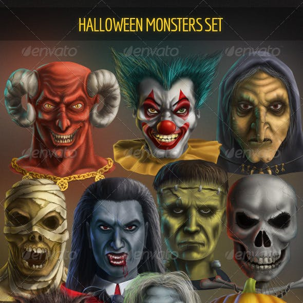 Halloween Monsters Set