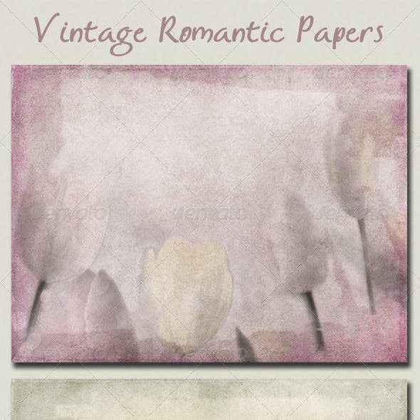 Vintage Romantic Papers with Flowers