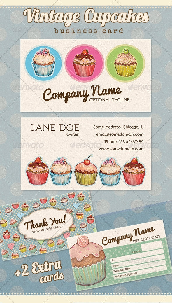 Vintage Cupcake Business, Thank you, Gift Card - Retro/Vintage Business Cards
