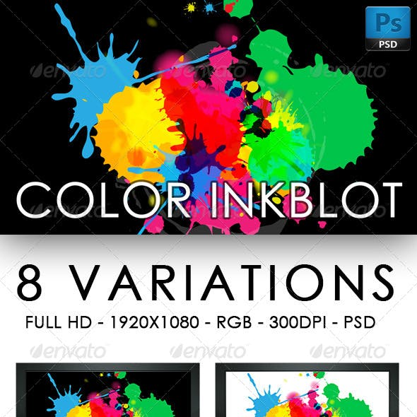 Color Inkblot Background Set