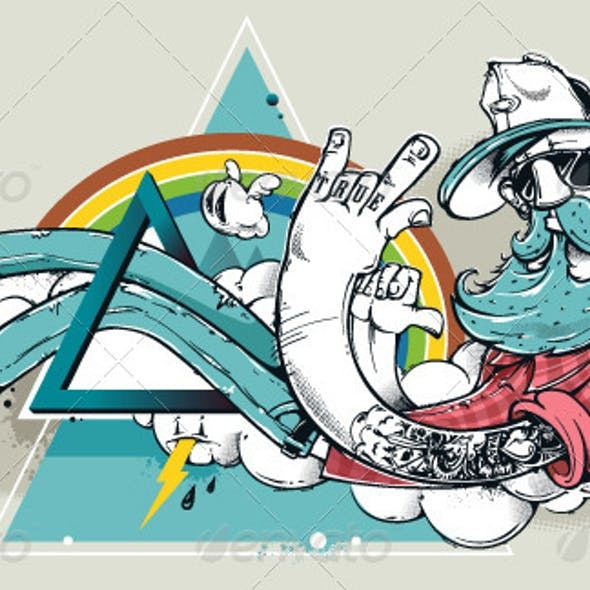 Abstract graffiti hipster illustration