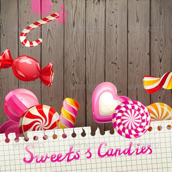 Background with Sweets and Candies