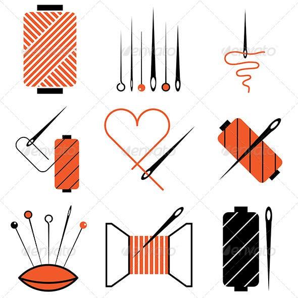 Needle and Thread Icons Set