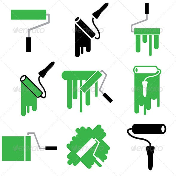 Roller and Paint Icons Set