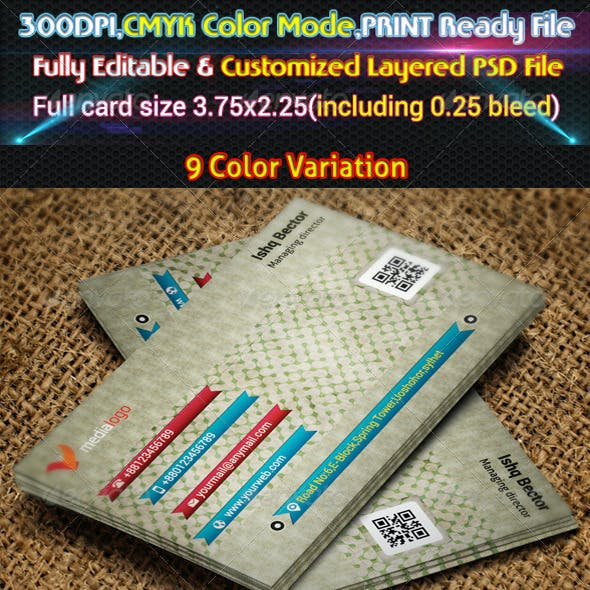 9 Colors variation Retro Business Card