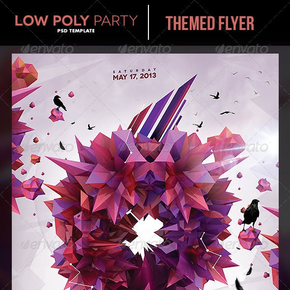 LowPoly Party Flyer Template
