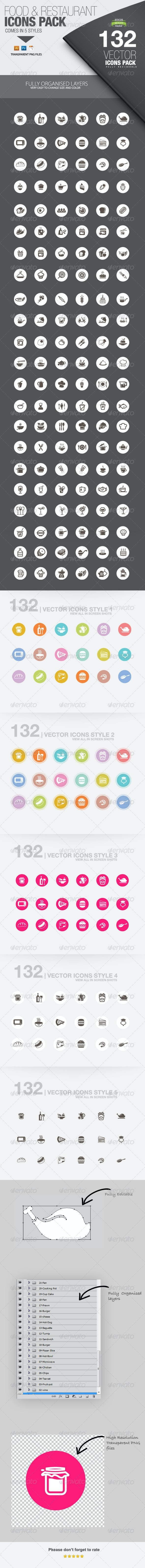 Food/Restaurant - 132 Icons - Food Objects
