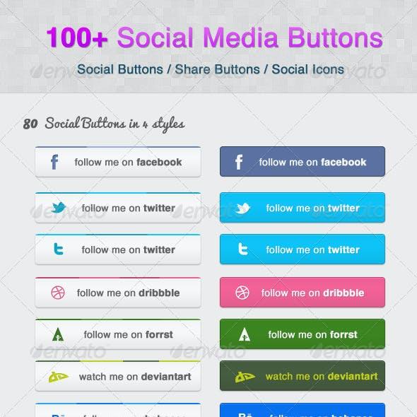 100+ Social Media Buttons