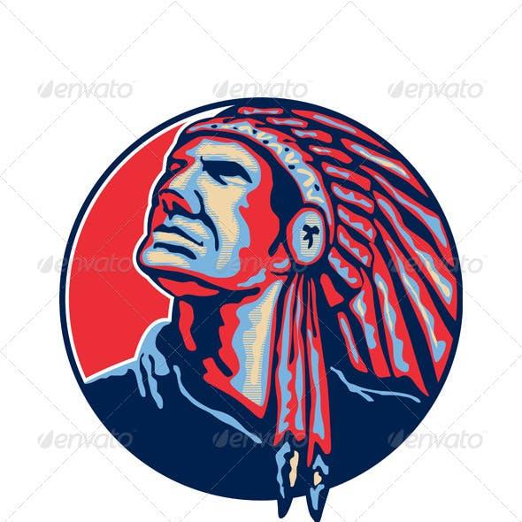 Native American Indian Chief Retro