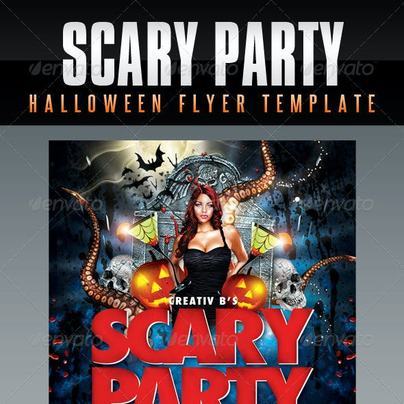 Scary Party Halloween Flyer Template