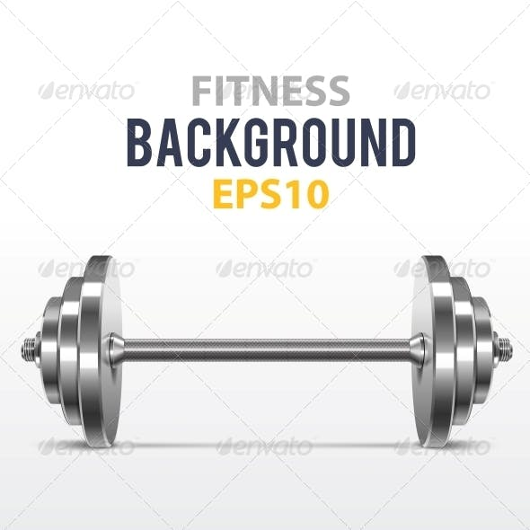 Fitness Background with Metal Dumbbell