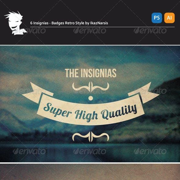 6 Insignias - Badges Retro Style