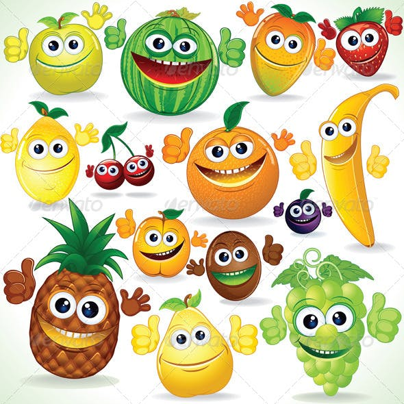 Colorful Cartoon Fruits