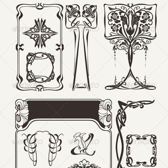 Set of Vintage Art Deco Design Elements