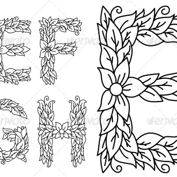 Floral Capital Letters E, F, G and H