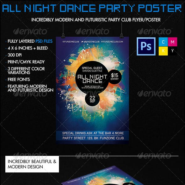 All Night Dance Futuristic Party Poster/Flyer