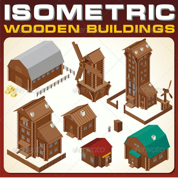 Isometric Wooden Cabins and House