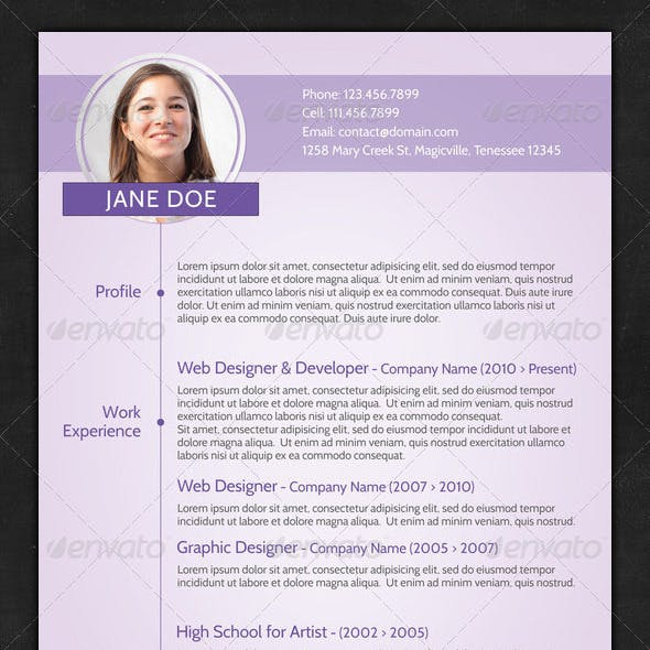 Purple Creative CV Template