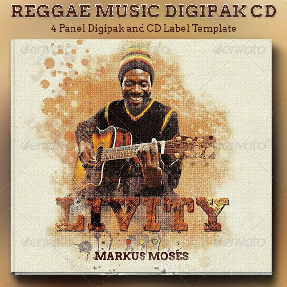 Reggae Music 4 Panel Digipak CD Artwork Template