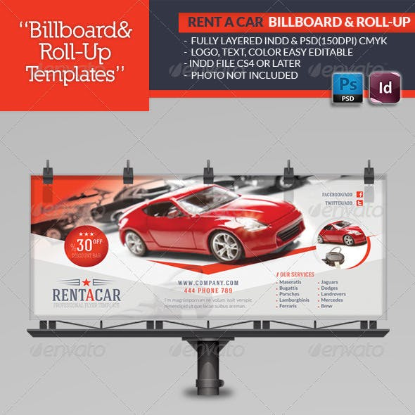 Rent A Car Billboard & Roll-Up Template