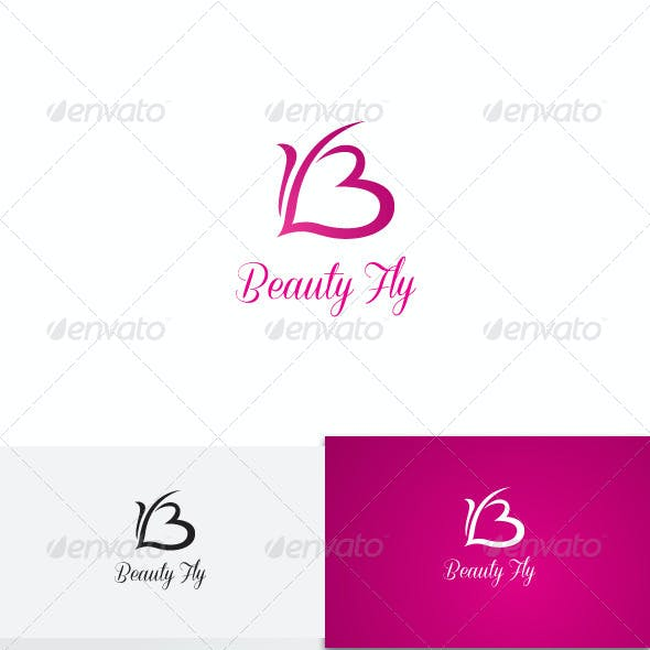 B Letter Butterfly Love Logo