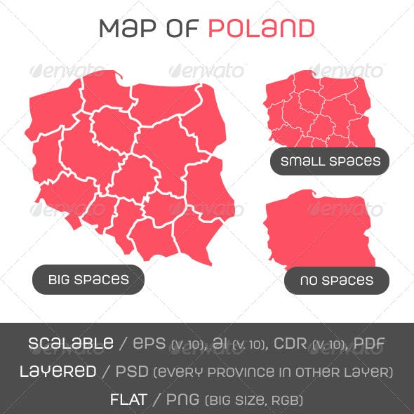 Map of Poland + map pins