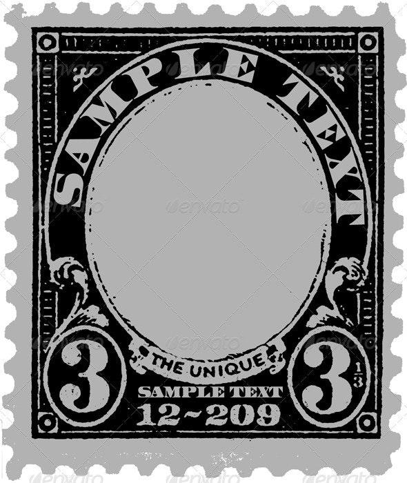 Black Old Postal Mark - Retro Technology