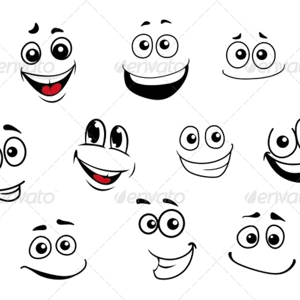 Cartoon Emotional Faces Set