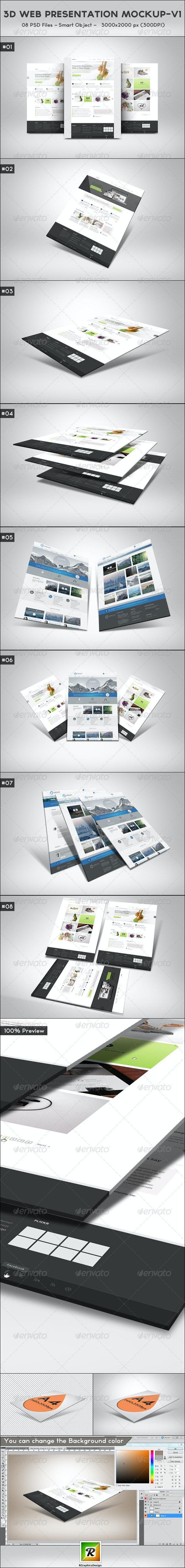 3D Web Presentation Mockup (V1) - Website Displays