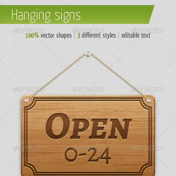 3 Different Hanging Signs