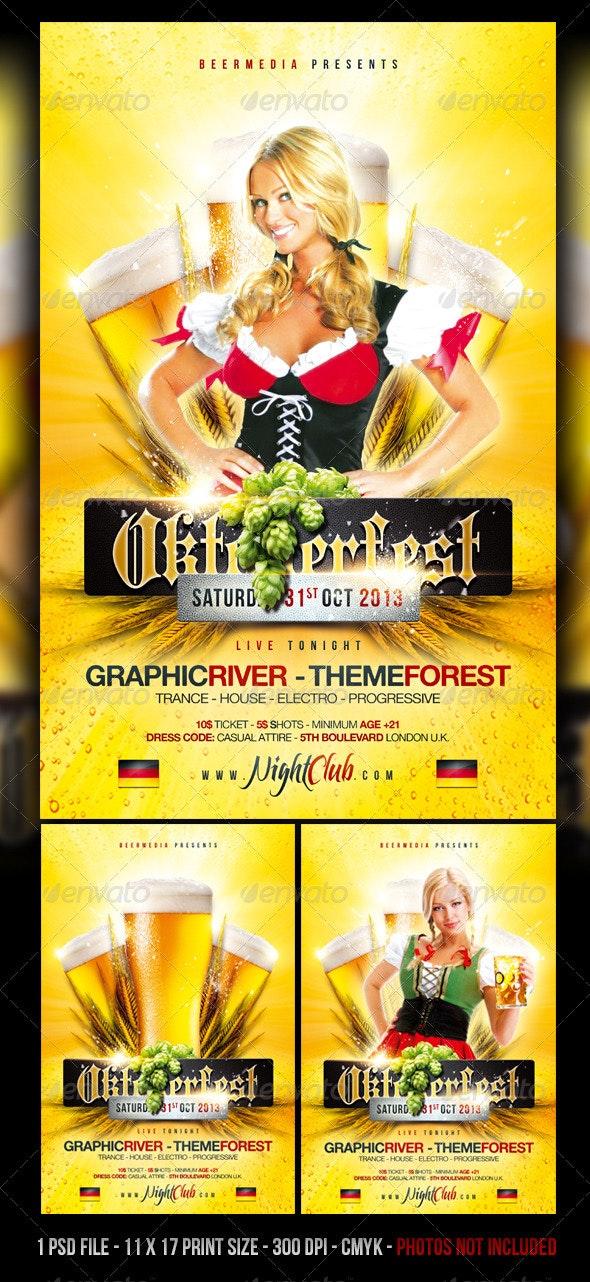 Oktoberfest / Beer Festival Flyer / Poster - Concerts Events