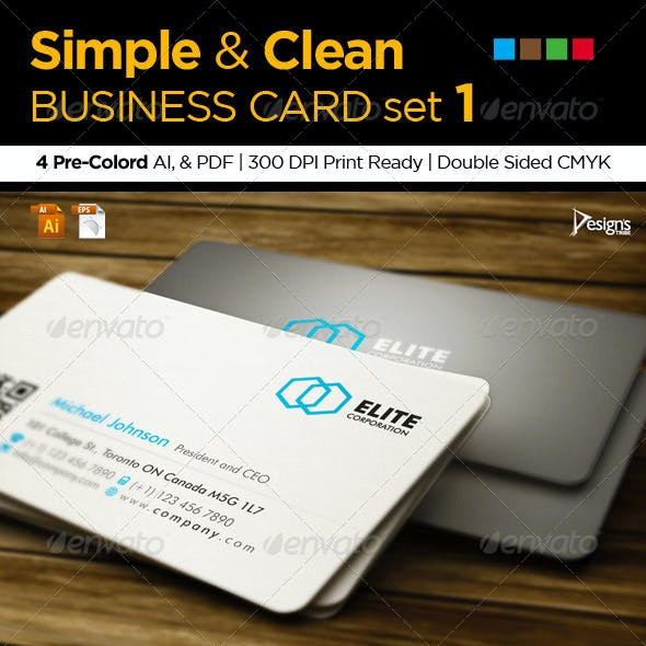 3in1 Simple and Clean Business Card set 1