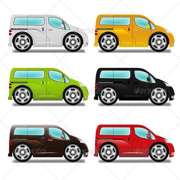 Cartoon Minivan with Big Wheels