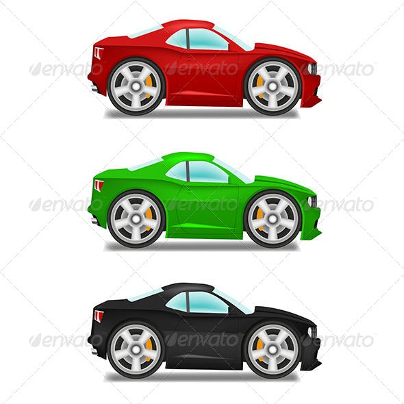Cartoon Muscle Car with Big Wheels
