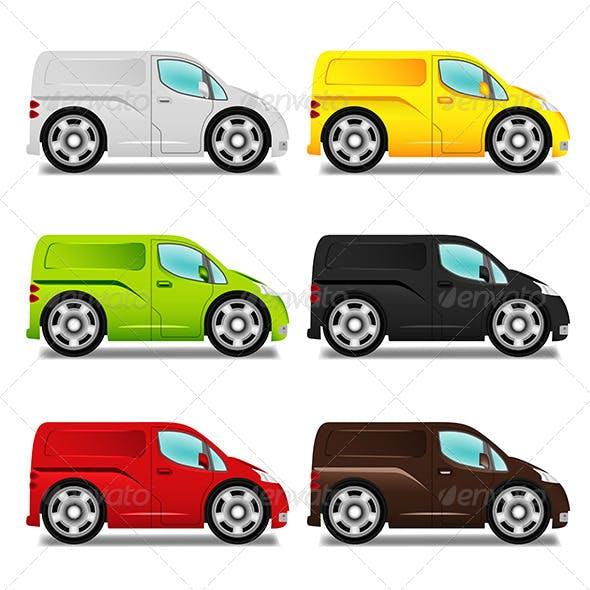 Cartoon Minibus and Delivery Van with Big Wheels