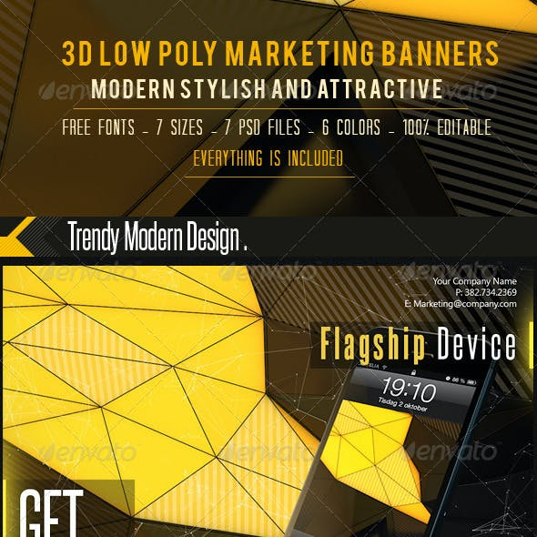 LowPoly Marketing Web Banners