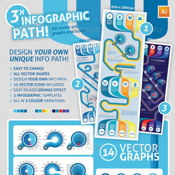 InfographicPath, Graphs and Icons