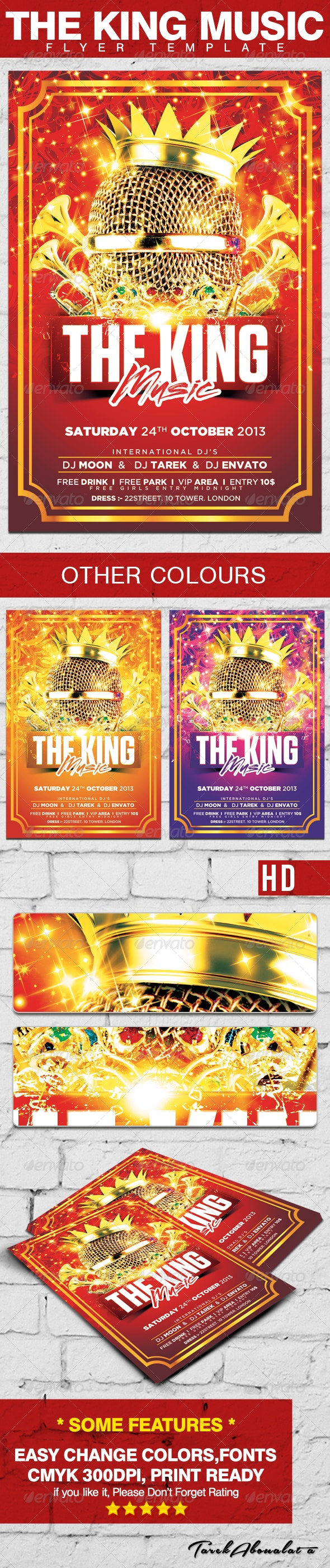 The King Music Flyer Template - Clubs & Parties Events
