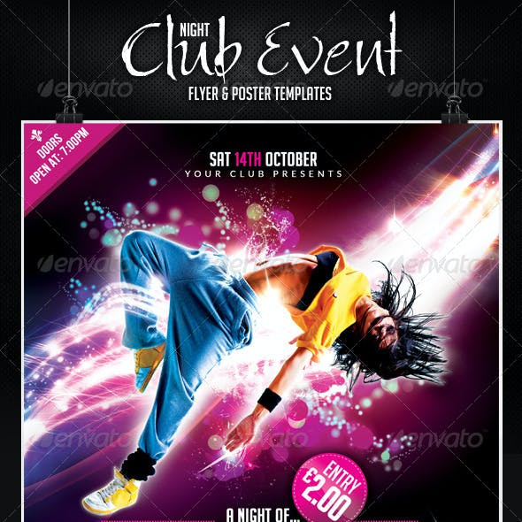 Night Club Trance Event Flyer and Poster Template