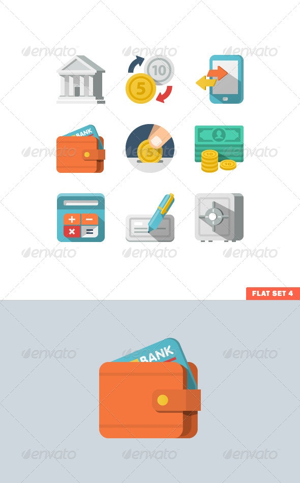 Money Flat Icon Set for Web and Mobile Application - Icons