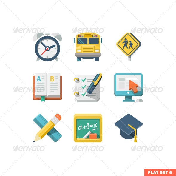 School and Education Flat Icons