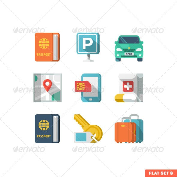Traveling and Transport Flat Icons 2