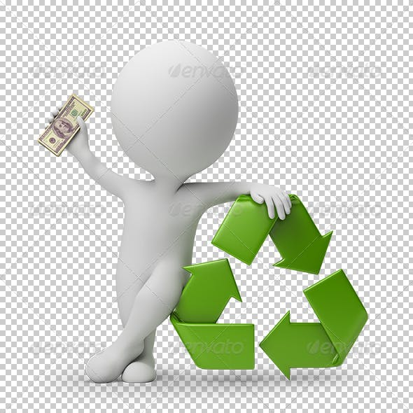 3d small people - payment for recycling