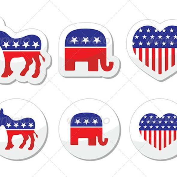 USA Political Symbols of Democrats and Repbublicans