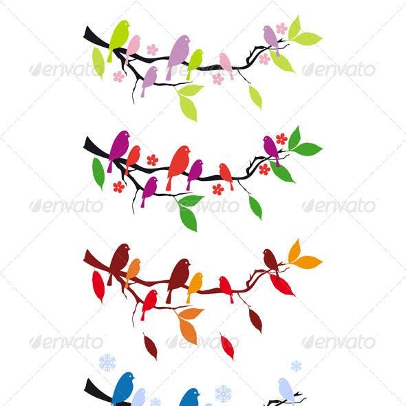 Birds on Tree in Four Seasons