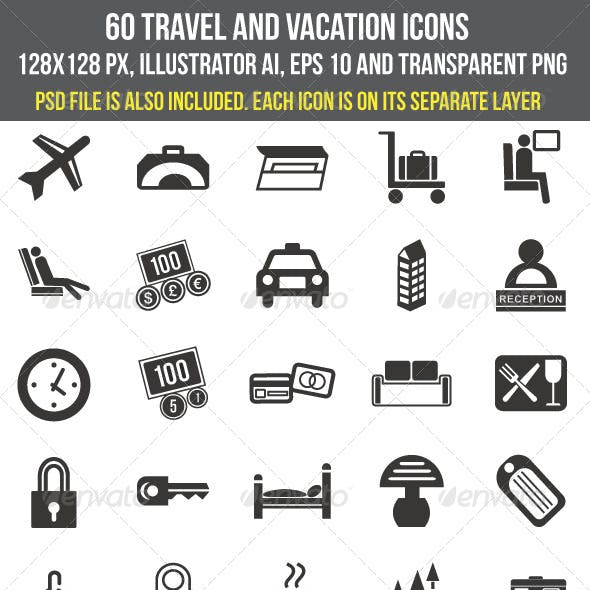 60 Travel and Vacation Icons
