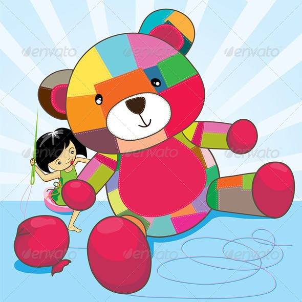 Girl Sews a Teddy Bear