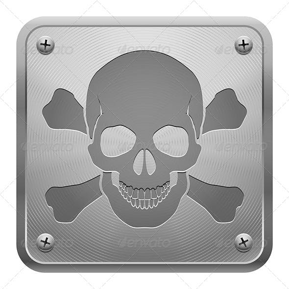 Metal Tablet with Skull and Crossbones
