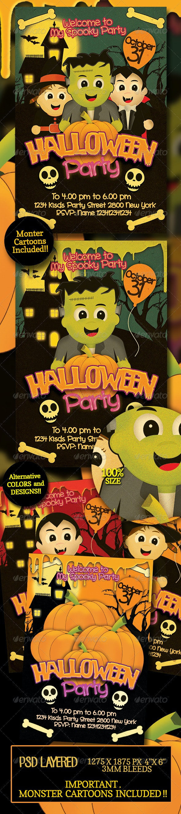 Halloween Kids Party Flyer - Clubs & Parties Events